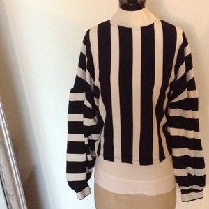 Bershka black and white striped blouse. Size small